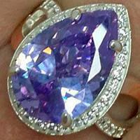 Серебряное кольцо с золотыми накладками с аметистом светлым и фианитами ДК-011