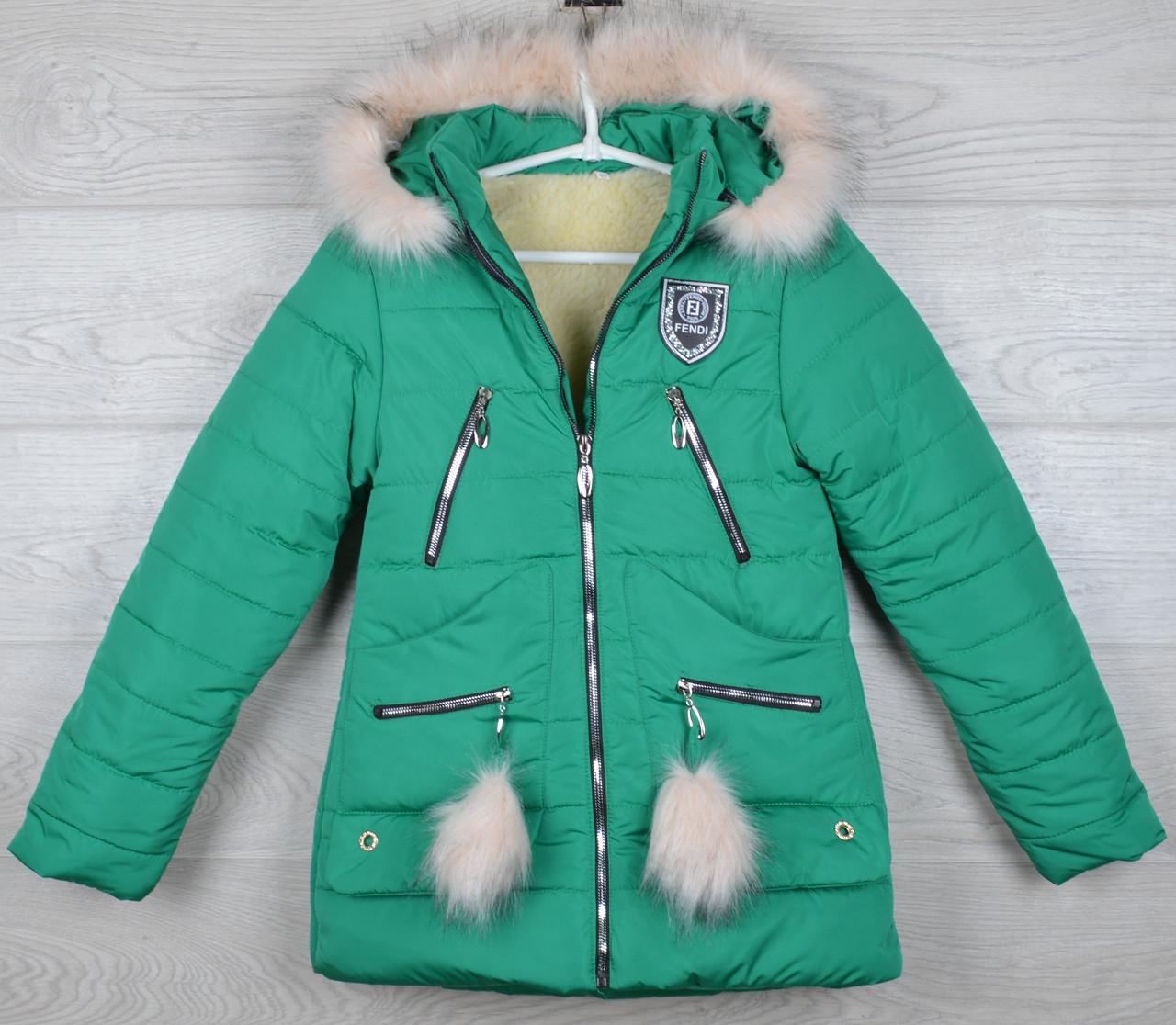 """Куртка зимняя """"Fendi реплика"""" для девочек. 10-11-12-13-14 лет (140-164 см). Зеленая. Оптом."""