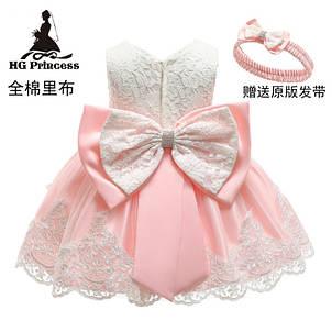 Нарядное детское платье на девочку  розовое с белым  1-5 лет, фото 2