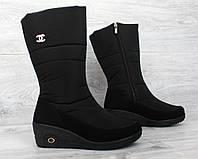 Чоботи - дутики жіночі зимові чорного кольору  (Бш-02-1ч)