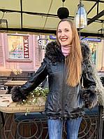 Кожаная женская куртка с капюшоном с мехами на съемной подстежке