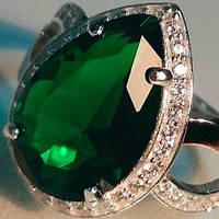 Серебряное кольцо с золотыми накладками с изумрудом и фианитами ДК-011