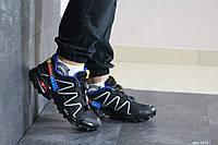 Кроссовки мужские Salomon,кроссовки для бега,черно-белые с синим