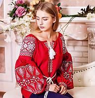 Жіноча вишиванка на довгий рукав червоного кольору