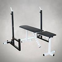Лавка регульована (до 250 кг) + Стійки під штангу (до 200 кг), фото 2