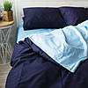 Постельное белье двуспальное поплин PF024 темно-синий/голубой Хлопковые традиции