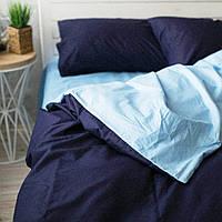 Постельное белье двуспальное поплин PF024 темно-синий/голубой Хлопковые традиции, фото 1