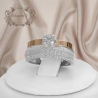 """Серебряное кольцо с золотыми пластинами """"Мария 2"""""""