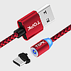 Магнитный кабель TOPK AM17 Magnetic Round USB MicroUSB 1m - Red