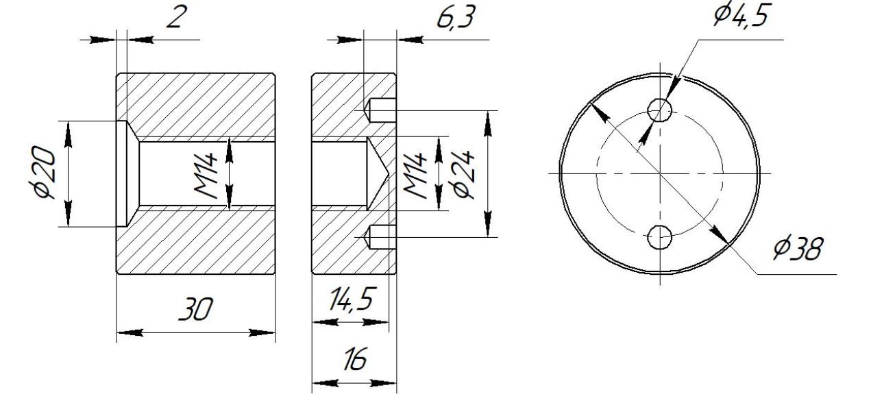 ODF-06-22-01-L30 Коннектор прижимной монтажный для стоек с боковым креплением d38 M14