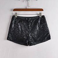 Вечерние нарядные клубные черные шорты женские с пайетками