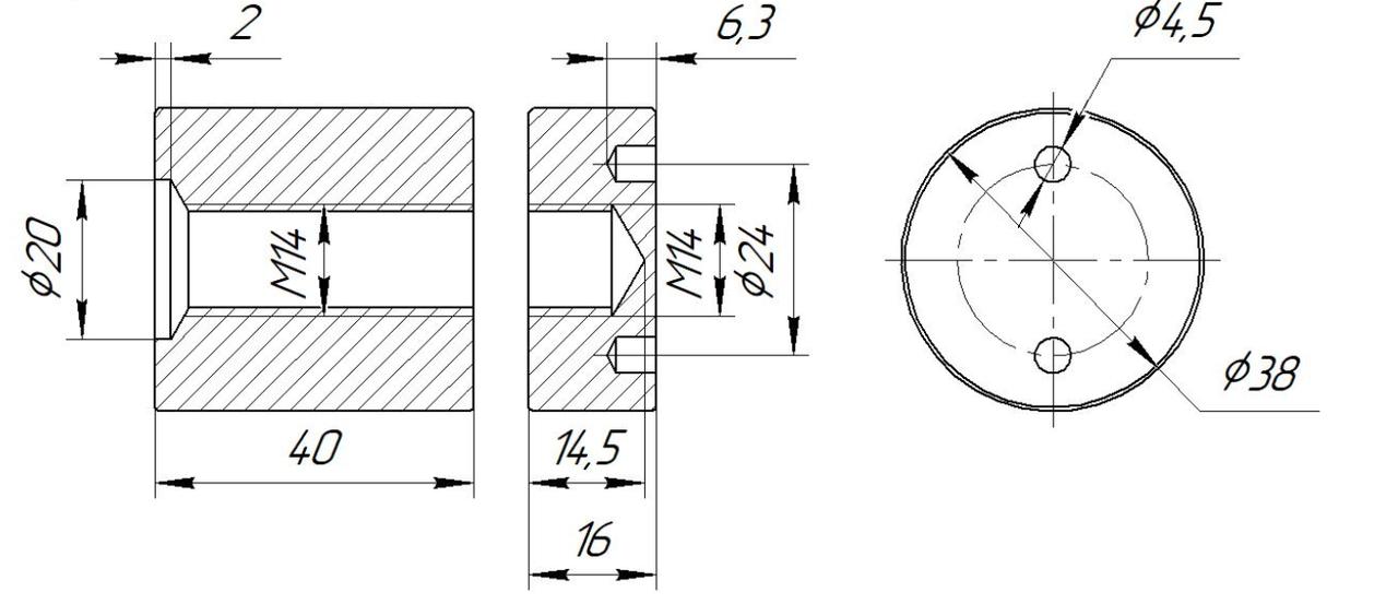ODF-06-22-01-L40 Коннектор прижимной монтажный для стоек с боковым креплением d38 M14