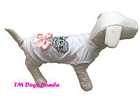 Майка из хлопка для собаки белая с бантом