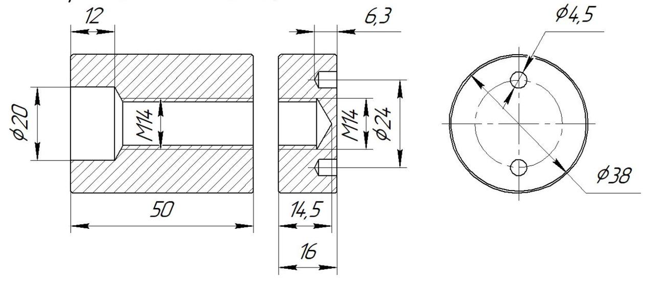 ODF-06-22-01-L50 Коннектор прижимной монтажный для стоек с боковым креплением d38 M14