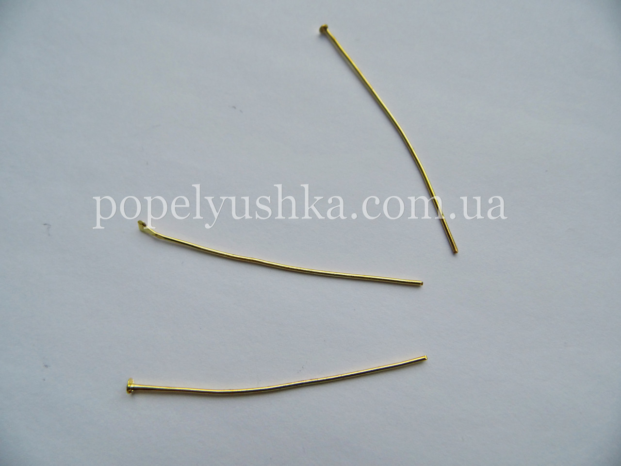 Булавка з плоскою шляпкою 3 см Золото (5 шт)
