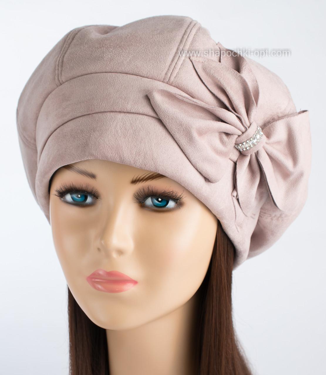 Женская шапка зимняя Адель пудрового цвета