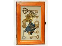 Шкафчик для ключей KC3026D, Ключница дерево, Настенная ключница, Ящик ключница на 6 крючков