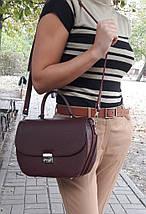 583 Натуральная кожа Сумка женская бордовая Кожаная сумка бордовая кожаная сумка кожаная марсала, фото 2