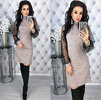 Женское красивое платье из ангоры софт с сеткой на рукавах