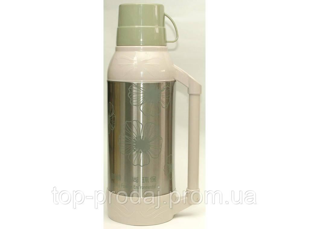 Компактный термос со стеклянной колбой 2л T43-1, универсальный термос для напитков, пластиковый термос