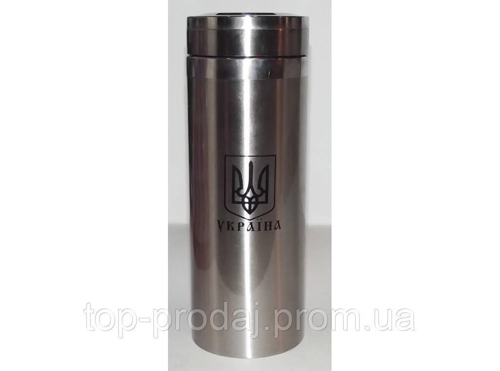 Металлический термос с гербом Украины 1 литр T4, термос металлический из нержавеющей стали