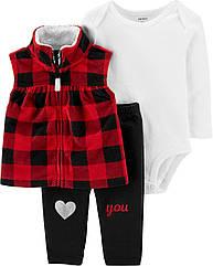 Теплый набор для девочки Carter's жилетка + боди + штанишки , костюм с красной флисовой жилеткой картерс
