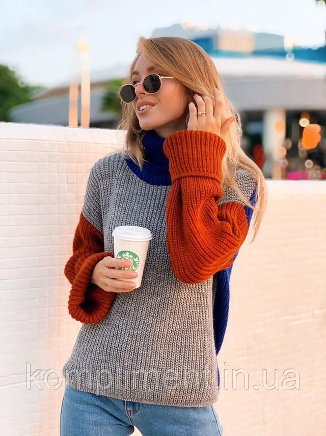 Женский вязаный свитер под горло, серый NC 3281