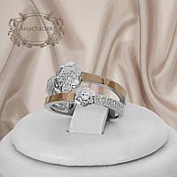 """Серебряное кольцо с золотыми пластинами """"Анастасия"""""""