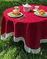 Скатерть с кружевом из водоотталкивающей ткани FOBOS, цвет бордо