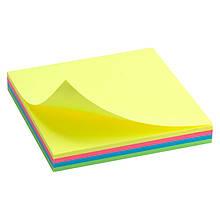 Блок бумаги с клейким слоем 75х75, 100л, неон