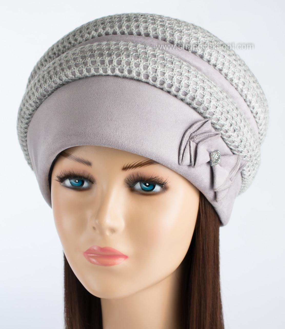 Женская зимняя шапка Ажур светло-серого цвета