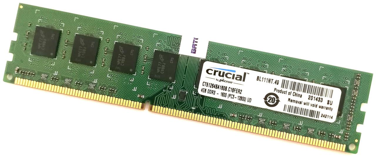 Оперативная память Crucial DDR3 4Gb 1600MHz PC3-12800U 2R8 CL11 (CT51264BA160B.C16FER2) Б/У