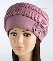 Теплая женская шапка Ажур розового цвета
