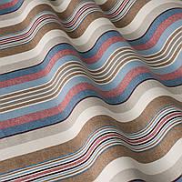 Декоративная ткань в полоску бежево-голубого цвета с тефлоном 84609v5