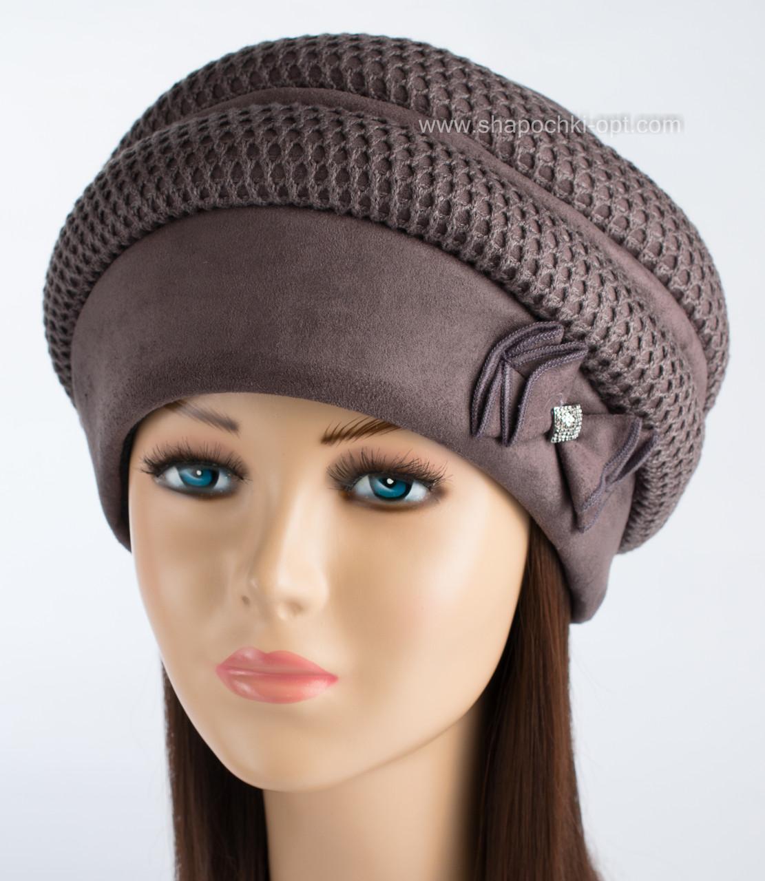Женская шапка из искусственной замши Ажур шоколад
