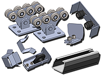 Фурнитура для откатных ворот SP-5,6 STANDART, до 500 кг, черная 3,5 мм, от 3 - 3,5 м, до 500 кг, Черная 3,5 мм, 5м