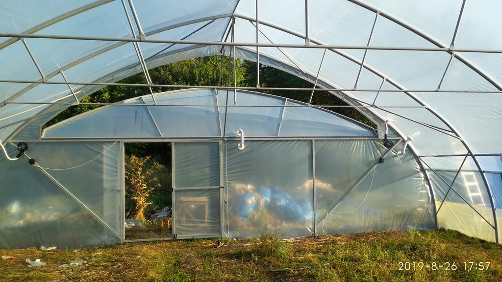 фасад фермерської теплиці зсередини