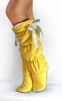 Женские домашние тапочки сапожки высокие желтые