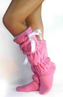 Тапочки сапожки женские розовые высокие