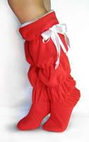 Женские модные тапочки сапожки высокие красные