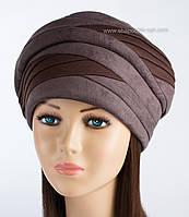 Зимняя женская шапка Полли цвет шоколад