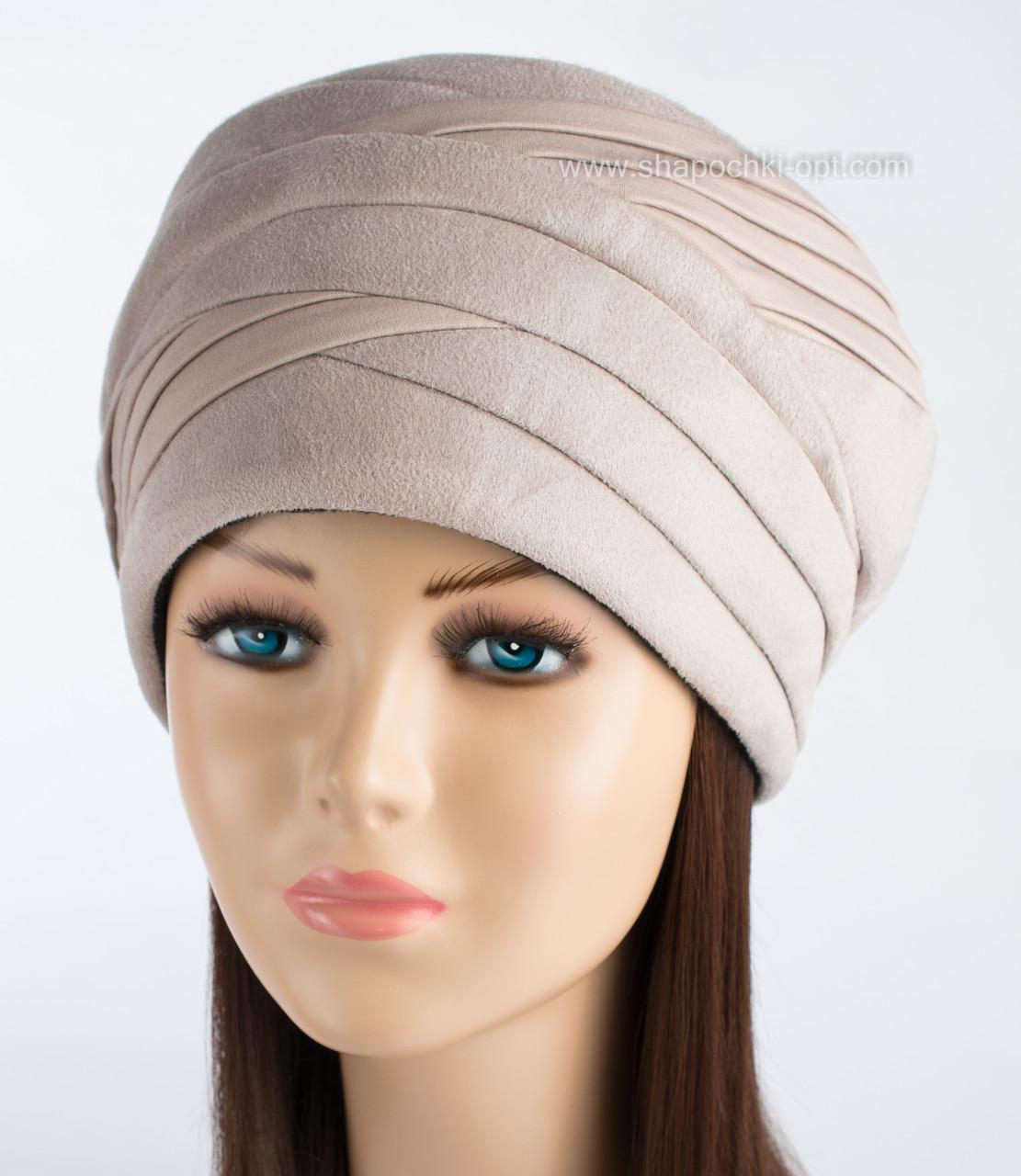 Женская теплая шапка Полли бежевого цвета