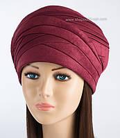 Зимняя шапки из искусственной замши Полли бордового цвета