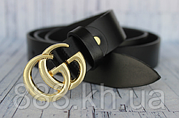 Кожаный ремень для женщин Gucci, черный ремень, жіночі ремні