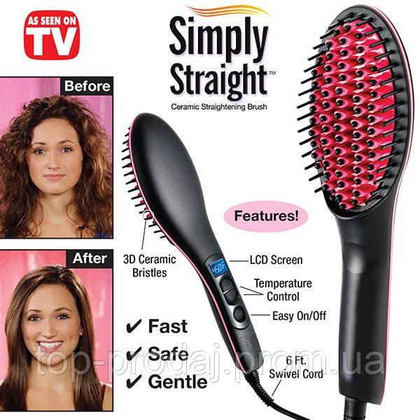 Расческа выпрямитель Simply Straight, расческа для выравнивания волос simply straight, электрическая расческа