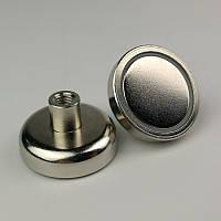 Неодимовий магніт D10 10мм* 5мм кріпильний в корпусі з різьбою 3 кг