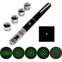 Указка LASER GREEN 5IN1, Лазерная указка с 5-ю насадками, Зеленая лазерная указка, Лазер зеленый