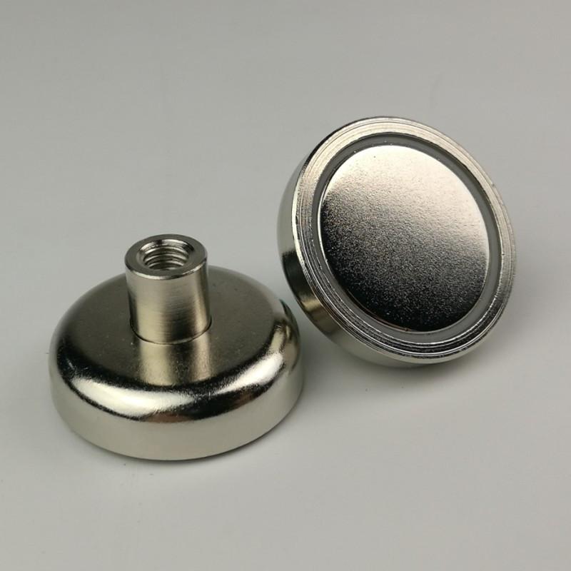 Неодимовий магніт D16 16мм * 5мм кріпильний в корпусі з різьбленням 7.5 кг