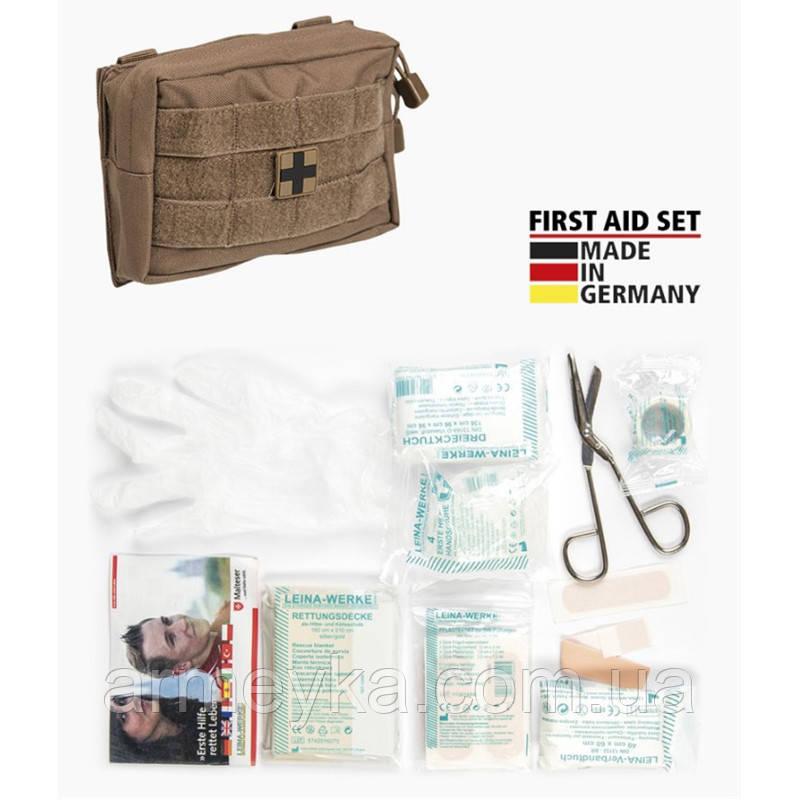 Аптечка первой помощи, 25 предметов, в подсумке Molle Coyote. Германия Leina-Werke GmbH