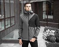 Куртка мужская Pobedov  демисезонная спортивная теплая с воротником и капюшоном (серая), ОРИГИНАЛ, фото 1